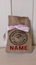 Personalized Made By Santa Stamp Small Father Christmas Xmas Santa Sack / Stocking Bag Jute Hessian